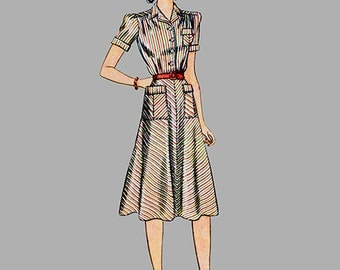 1940 Dress pattern, Simplicity 3419 Simple to make Front pockets Front button pockets Cuffed short sleeves or long sleeve, Bust 32 Size 14
