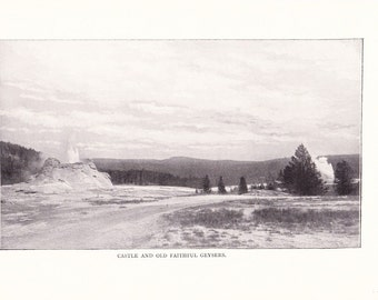 1900 Landscape Photograph - Castle Old Faithful Geyser Yellowstone National Park - Antique Vintage Nature Art for Framing 100 Years Old