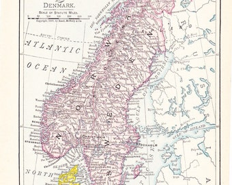 1908 Map Norway Sweden and Denmark - Vintage Antique Map Great for Framing 100 Years Old