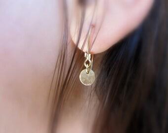 Tiny round disc gold earrings, 14K gold filled earrings