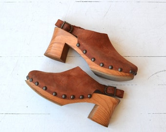 Mile High platform clogs | vintage 1970s clogs | studded leather clogs