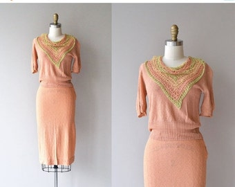 25% OFF.... Collected Works knit set   vintage 1930s knit dress   30s knit sweater and knit skirt