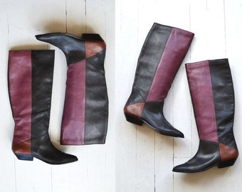 Harlequin boots | 1980s leather knee high boots | tall leather boots 10