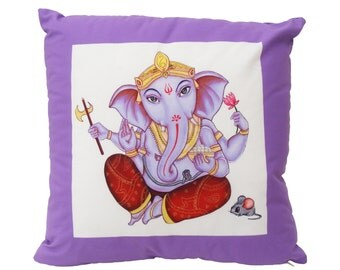 "Lavender Lord Ganesh 16"" Cotton Pillow"