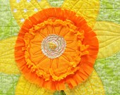 Jonquil wall art quilt in yellow and orange on green- daffodil, spring, appliqued flower, hand embroidered, ready to ship- ships free to USA