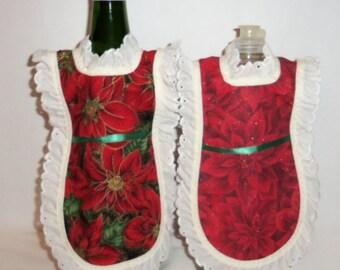 Dish Soap Apron, Handmade, Wine Bottle, Detergent Cover, Poinsettia, Christmas Holiday,  Eyelet Lace, Kitchen Decor