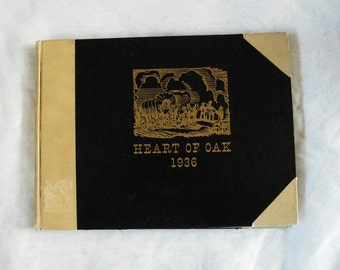 Vintage 1930s college yearbook Pacific University Forest Grove Oregon 1936 Heart of Oak