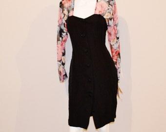 Vintage Dress Sweetheart Roses on Black Wiggle Style