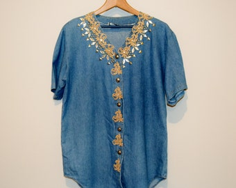 Vintage Blouse Gold Baroque on Denim with Rhinestones Too