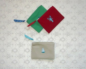 Preppy Nautical Lilly Embroidered Fabric Coin Purse 3 Options