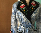 Kyoto Holiday - 1940's Asian Brocade Lounging Robe with Embroidery