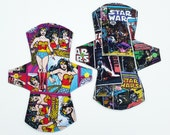 Create Your Own Cloth Pad, SciFi, Comics & Galactic Cotton Fabrics, Star Wars, Dr. Who, Star Trek, Wonder Woman