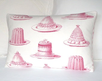 Thornback & Peel Jelly and Cake Handmade Cushion Cover / Lumbar Throw Pillow Cover - UK Designer - Pink and White - Laura Ashley Gingham