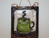 Green Coffee Cup Raku fired tile