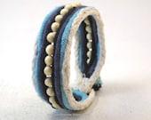 blue beaded cuff bracelet blonde beads one button cuff cord fabric bracelet beaded bracelet 3829