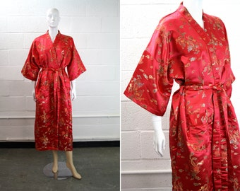 Double Peach Brand Asian Style Wide Sleeve Mid Length Red Floral Embroidered Robe