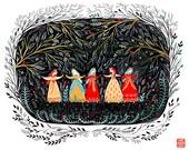 Five Dancing Princesses art print