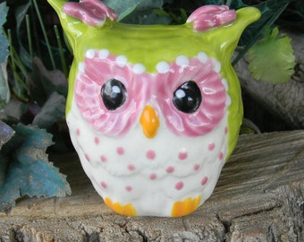 OWL White Ceramic  Owl  Figure   from Vintage mold   Glazed Owlet     Ready to ship