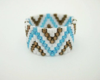 Beadwork Peyote Ring Zig-Zag Blue Brown White Delica Seed Bead Ring Beaded Beadwoven Band Size 7