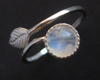 Adjustable Sterling Silver Rainbow Moonstone Leaf Ring
