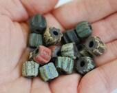 Handmade Ceramic Beads - Barrel Beads - Chevron Inspired Beads - Chocolate Stoneware Clay - Rustic Glazes- Made to Order- Marsha Neal Studio