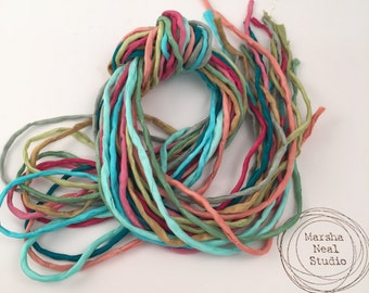 Silk Ribbon Cord Bundle Item No.365 Contains Ten 2mm Silk Ribbons Random Colors