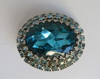 Large Signed Coro Blue Ice Crystal Brooch
