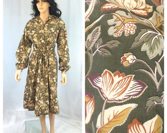 Vintage Green Floral Dress. Button Up Dress with Collar. Woodland. Yellow. Brown. Boho. Long Sleeve. Fall. Autumn Dress. Under 20.