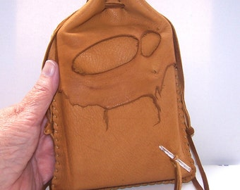 "Drawstring Leather Medicine Bag..Tarot / Ogham Staves..6"" x 8"".. Dusk"