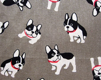 Animal Print Fabric By The Yard - Cotton Linen Blend Fabric - Pug Expressions on Gray - Half Yard