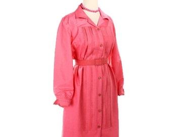 ON SALE 1960s Oleg Cassini Silk Shirt Dress - Bubblegun Pink Shirtfront w/ Matching Belt - size Medium