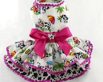 Dog dress, harness dog dress, designer dog dress, Vacation, Cows