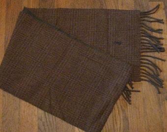 Vintage Polo Ralph Lauren Lambswool Brown Plaid Scarf