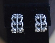 "On Sale Pretty Vintage Filigree Hoop Clip Earrings, Silver tone, ""Avon"" (H2)"
