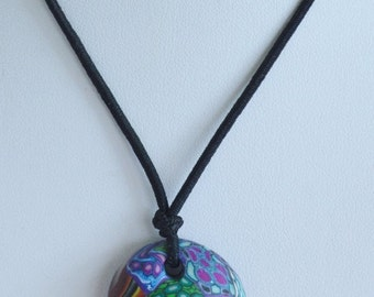 """On sale Pretty Vintage Purple, Green, Multi-Colored Clay-like Pendant Necklace, 14"""", Elastic Necklace (AP11)"""