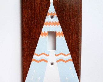Woodland Switch plate cover, Teepee Nursery Decor, Light Switch cover, Rocker Cover, electrical outlet, double switchplate, 2 gang cover