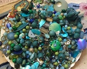 20% OFF HUGE 1 pound 12 oz BEAD Mix Destash Findings Lot stone Glass Plastic Jewelry Making Inspiration Blue Green Turquoise