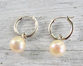STERLING Pearl925  Hoop Earrings Silver 925