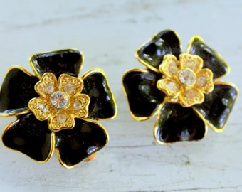 Floral Rhinestone earrings clip on enameled