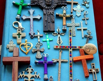 Cross Rosary Religious Medal LOT Crucifix Christian Catholic Assemblage Altered Art Supplies Destash Inspiration Findings