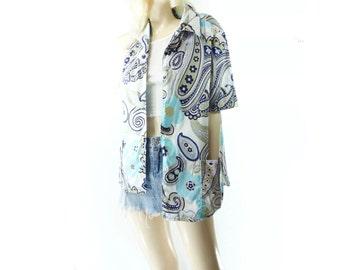 70s Paisley Blouse Vintage Blue Blouse Blue Button Down 70s Abstract Blouse 70s Turquoise Shirt Button Down Shirt Aquamarine Blouse m