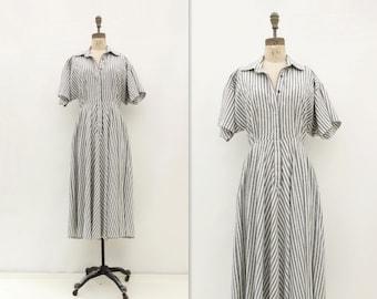 Norma Kamali Dress Vintage Midi Dress 80s Railroad Stripes Vintage Norma Kamali Black White Stripe 80s Shirtwaist Dress m