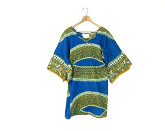 Vintage INDIAN Dashiki TRIBAL Mini Dress Boho Ethnic Tunic Blue Hippie Gypsy Shirt Festival Blouse Bohemian Minidress Kaftan Medium Small
