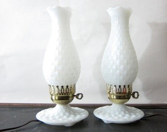 Vintage Mid century milk glass hobnob HURRICAINE table lamps Pair of White Retro Lights Cottage Chic Home Decor Dresser Lamps