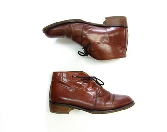 BRYSTON Leather CHUKKA Boots Cognac Brown Lace Up Leather Ankle Boots 90s Italian Vintage Leather Booties Lace Up Womens Fall Boots 37.5 7