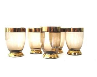 Vintage 1960s Gold Rim Mad Men Glasses Set of 5 Retro Barware Mid Century small Glassware cups Vintage Shot Glasses Tinted Schnapps Vodka
