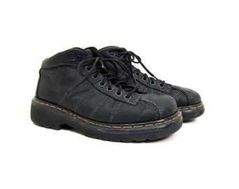 Black Doc Martens Shoes Low Top CHUNKY Leather Grunge Shoes 90s Hipster Dr Martens Made in England Ankle Boots Oxfords Women's US 9.5 UK 7