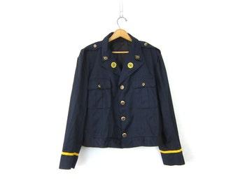 Cropped Uniform Jacket American Legion tux coat Navy Blue blazer Patches Buttons 1970s jacket size 44 regular Men's