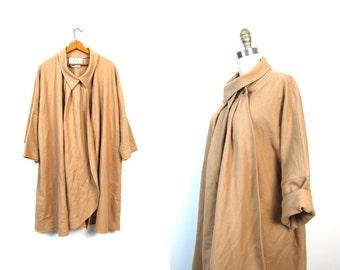 Camel Brown Wool Cape Coat 60s Mod Jacket Peter Pan Collar Cloak Hippie Tan Boho 1960s Vintage Bohemian Poncho Button Up Small Medium Large