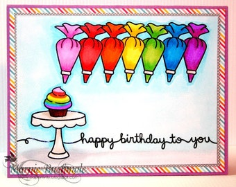 Happy Birthday To You - Happy Birthday Card -Rainbow Frosting - Cupcake Card - Birthday Card - Rainbow Birthday Card